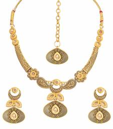Antique Gold Plated Handcrafted Traditional Necklace Set With Earrings & Maang Tikka For Women