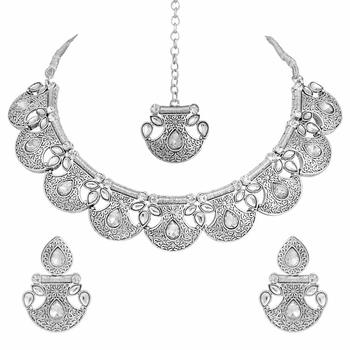 Oxidised Silver Handcrafted Rajsthani Necklace Set with Earrings & Maang Tikka for Women
