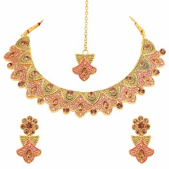 Handcrafted Original Meena Work Traditional Necklace Set with Earrings & Maang Tikka for Women