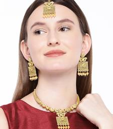 Antique Gold Plated Handcrafted Polki Traditional Necklace Set With Earrings & Maang Tikka For Women