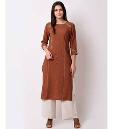 Brown Women's Rayon Slub Straight Embriodred Kurta