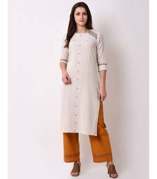 Beige Women's Rayon Flex Straight Embriodred Kurta