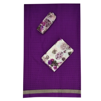Purple Abstract Print Cotton Salwar
