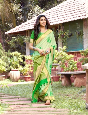 Light green woven jute saree with blouse