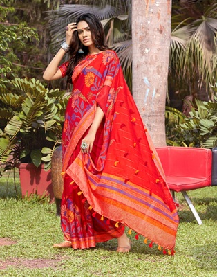 Red woven jute saree with blouse