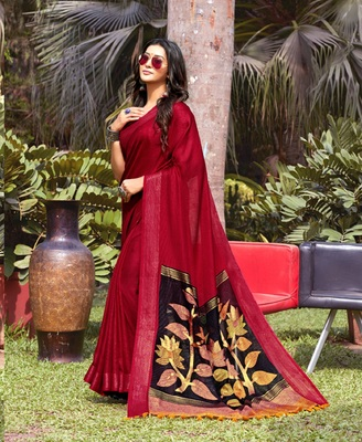 Maroon woven jute saree with blouse