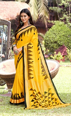 Yellow woven jute saree with blouse