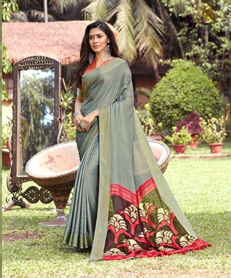 Grey woven jute saree with blouse