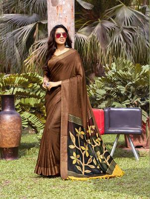 Brown woven jute saree with blouse