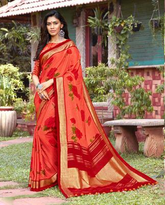 Peach woven jute saree with blouse