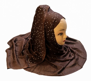 Justkartit Women's Rayon Cotton Coffee Color Pearl Work Hijab Scarf Dupatta