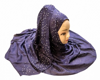 Justkartit Women's Dark Blue Color Rayon Cotton Pearl Work Hijab Scarf Dupatta