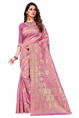 Light purple woven banarasi silk saree with blouse