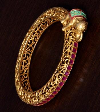Copper Made Ruby Stone Embellished Elephant Shaped Designer Bracelet BD360