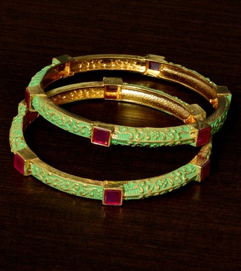 Copper Made Meenakari Worked and Ruby Stone Embellished Pair of Designer Bangles BD369