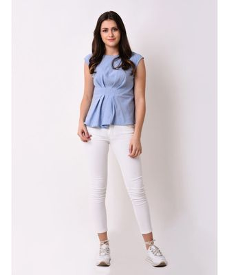 Women's Chambray Pleated Top