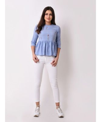Women's Floral Embroidered Chambray Top