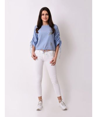 Women's Chambray Floral Embroidered Top