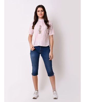 Women's Striped Embroidered Top