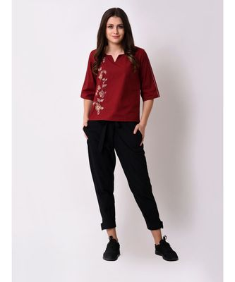 Women's Maroon Embroidered Top