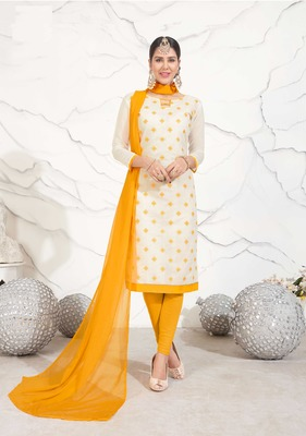 cream embroidered chanderi unstitched salwar with duaptta