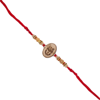 Gold Plated Designer Wooden Beads Stone Studded Lord Krishna Rakhi For Men/Boys