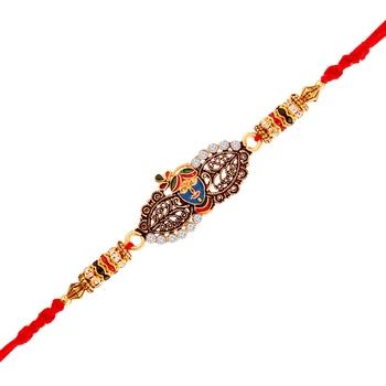 Gold Plated God Krishana Designer Cz Stone Studded Rakhi For Men/Boys