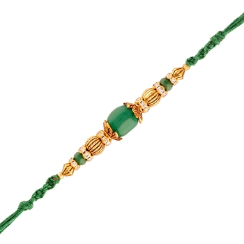 Gold Plated Designer Cz Stone Studded Green Pearl Rakhi For Men/Boys