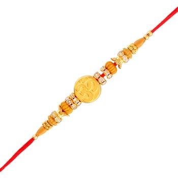 Gold Plated Designer CZ Stone Om Symbol Rakhi For Men/Boys