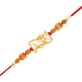 Gold Plated Designer Om Symbol Rakhi For Men/Boys