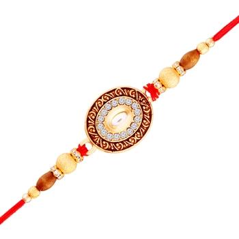 Gold Plated Designer Golden Pearl Cz Rakhi For Men/Boys
