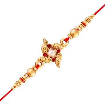 Gold Plated Designer Pearl Golden Flower Rakhi For Men/Boys