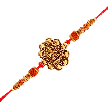 Gold Plated Designer Pearl Rudraksh Lord Ganesha Rakhi For Men/Boys