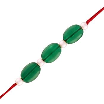 Gold Plated Designer Green White Beads Rakhi For Men/Boys