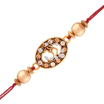 Gold Plated Designer Cz Stone Om Rakhi For Men/Boys