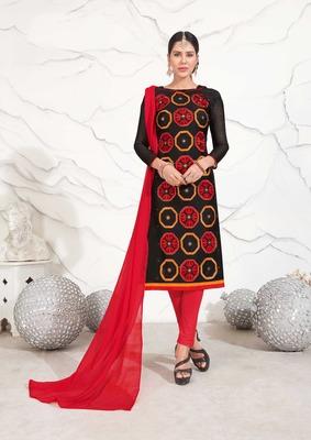 black embroidered chanderi unstitched salwar with dupatta