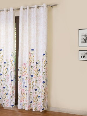 ROSARA HOME Grace Chenille Panel Printed Curtain