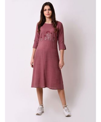 pink Women's Floral Embroidered Shift Dress