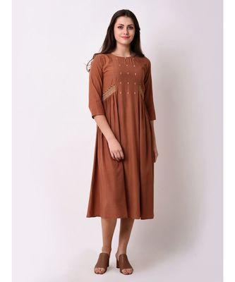 Brown Women's A-line Embroidered Kurta Dress