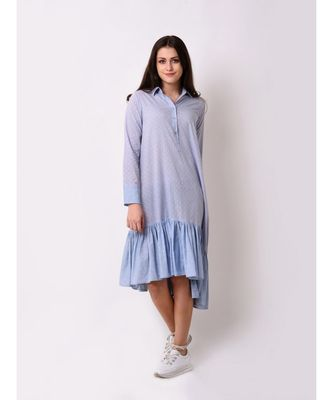 Blue Women's Asymmetric Frill Dress