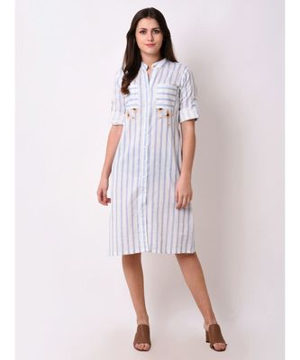 Blue Women's Blue Striped Shirt Dress