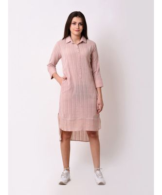 Pink Women's Peach Button Down Shirt Dress