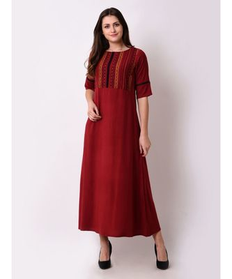 Red Women's Geo-embroidered Maxi Dress