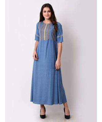 Blue Women's Geo-embroidered Maxi Dress