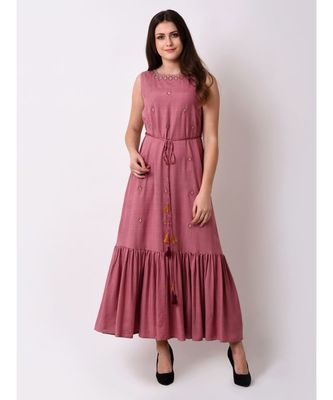 pink Women's Embroidered Fairytale Maxi Dress