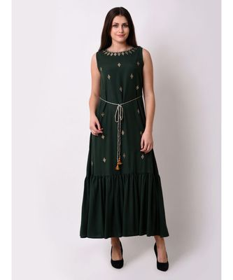 green Women's Embroidered Fairytale Maxi Dress
