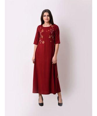 Red Women's Elegant Side Tie-up Maxi Dress