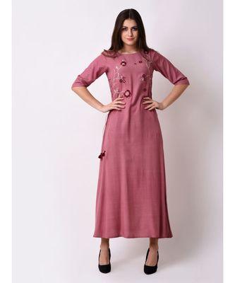 Purple Women's Elegant Side Tie-up Maxi Dress