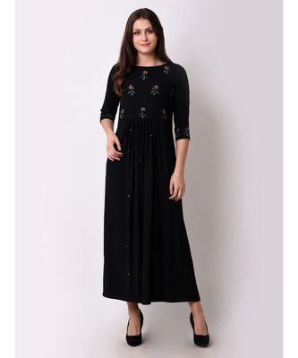 Black Women's Floral Gathered Maxi Dress