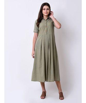 Green Women's Embroidered Shirt Dress